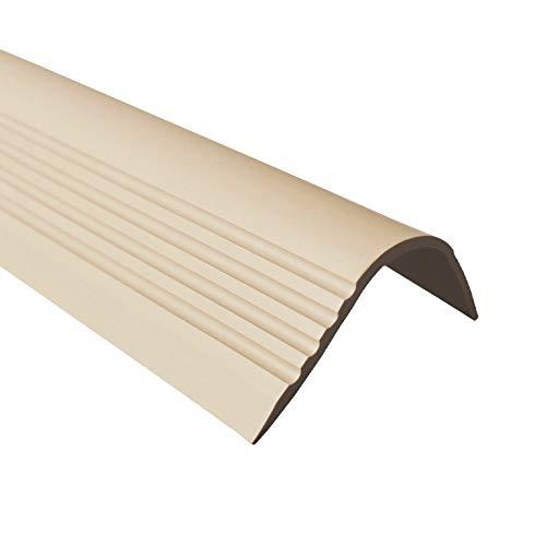 Treppenkantenprofil Selbstklebend PVC Kunststoff Antirutsch-Profil Winkelprofil 52x40 gerundet, beige, 110cm