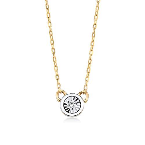 Gelin dames meisjes halsketting van 14 karaat - 585 echt geelgoud gouden hanger 0,01 ct diamant - ketting 45 cm