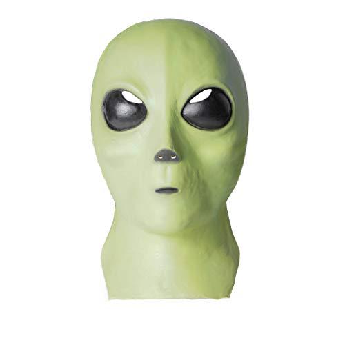 EraSpooky Máscara Alien Látex Halloween Extraterrestre Verde Máscara Cabeza Completa