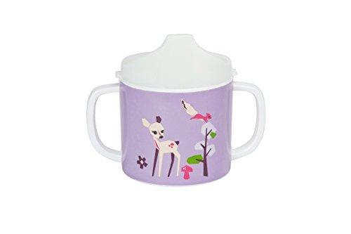 LÄSSIG Kinder Trinklernbecher mit Henkel Tasse rutschfest Melamin/Sippy Cup Little Tree Fawn