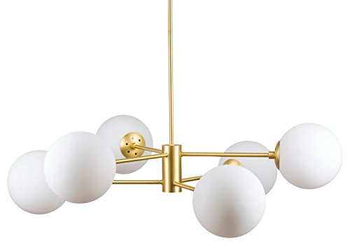 Caserti Mid Century Modern 6 Light Chandelier | Satin Brass Pendant Lighting LL-CH319-3SB