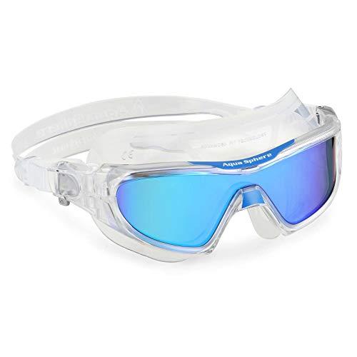 Aqua Sphere Unisex– Erwachsene Vistor Pro Schwimmmaske, Verspiegelte Gläser in Blau - Transparent/Blau, One Size