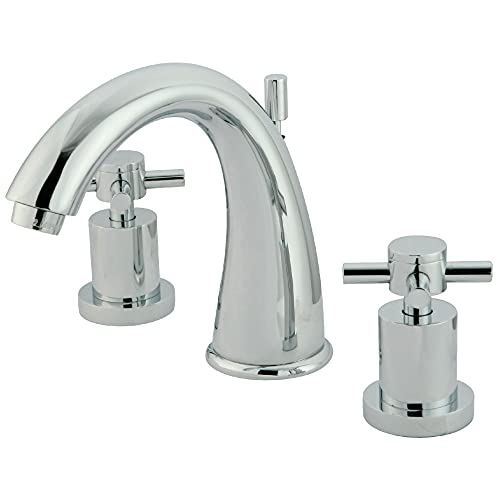 Kingston Brass KS2961DX Concord Widespread Lavatory Faucet with Cross Handle, 7-Inch Spout Reach, Polished Chrome