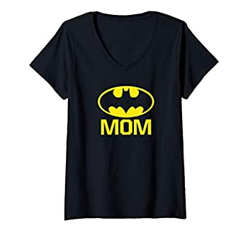 Womens Batman Bat Mom V-Neck T-Shirt