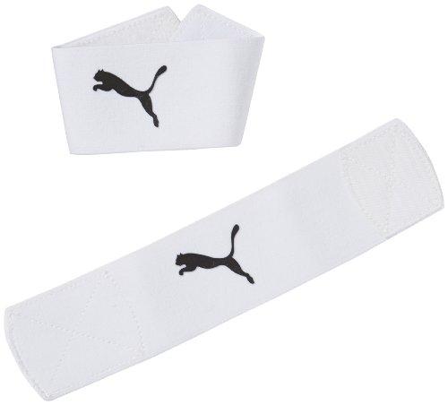 PUMA Sock Stopper Banda sujeta espinillera, Unisex, Multicolor (Blanco/Negro), Talla única