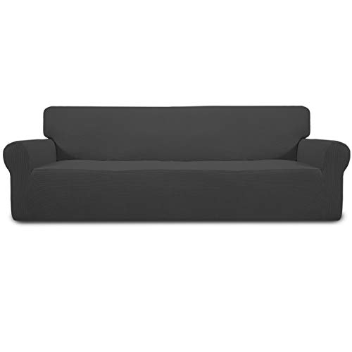 Easy-Going Stretch 4 Seater Sofa Slipcover 1-Piece Sofa Cover Furniture Protector Couch Soft with Elastic Bottom for Kids,Polyester Spandex Jacquard Fabric Small Checks(XX Large,Dark Gray)