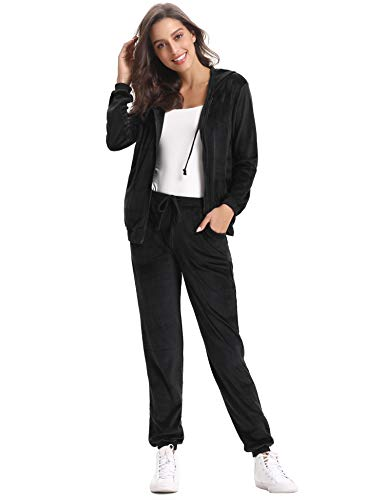 Abollria Damen Hausanzug Velours Trainingsanzug mit Samtoptik Kapuzejacke mit Reißverschluss Hose, Schwarz, Gr.- M