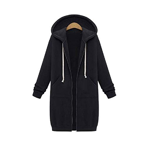 Zip Up Open Hooded Hoodies Dames Lange Mouw Jas Tops Jas S-5XL Plus Size Zwart