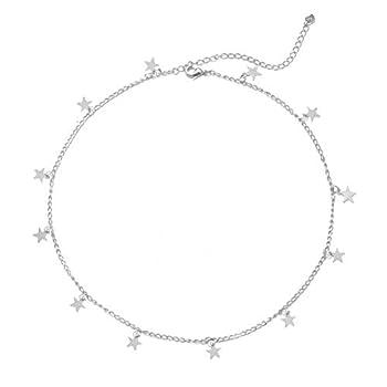 YANCHUN Star Choker Necklace Silver Star Necklace Choker for Women Dainty Choker Necklace Gift  C Silver Star Choker