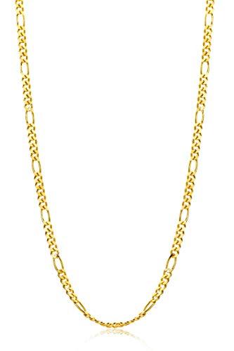 Orovi Damen Figarokette Halskette 14 Karat (585) GelbGold Figaro diamantiert Goldkette 1,5mm breit 45cm lange
