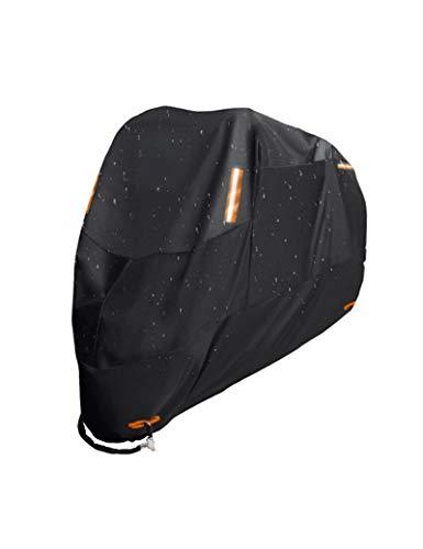 SHDBHD Funda para Moto Cubierta de la Motocicleta 300D Protectora Poliéster con Banda Reflectante a Prueba de Sol Agua Lluvia Polvo Viento Nieve Excremento de Pájaro al Aire Libre (XL-4XL)