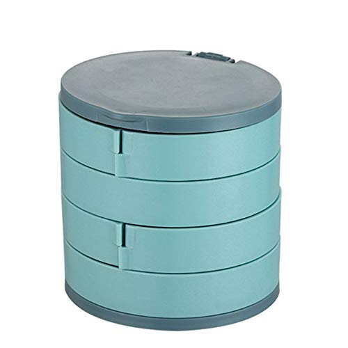 Jiaojie Jewelry Storage Box Multilayer Rotating Jewelry Stand Earrings Ring Box Cosmetics Beauty Container Organizer with Mirror