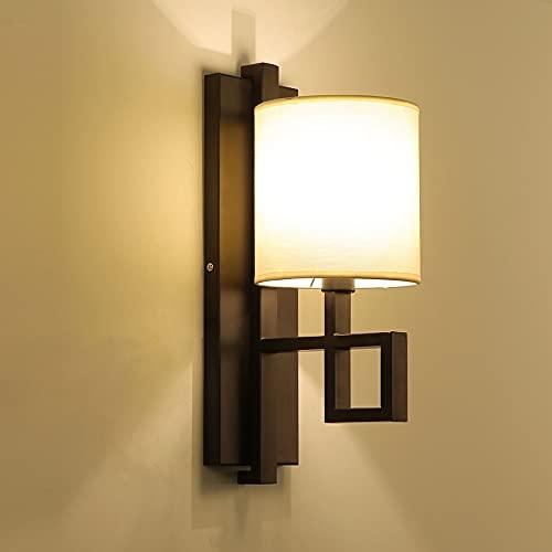 Ksovv Luces de la Pared Japonesa Lámpara de iluminación de Hierro Lámpara de Pared de Pasillo Simple E14 Lámpara de Tela Lámpara de Sombra Iluminación de Pared Iluminación