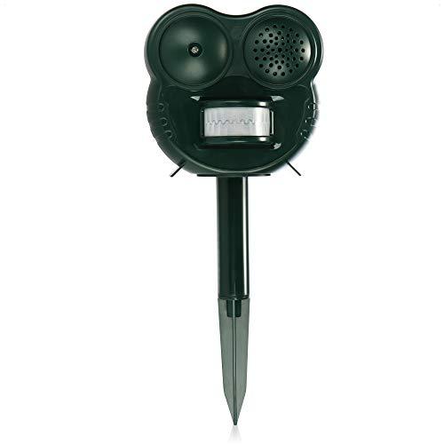 com-four® Repelente de Animales LED - Defensa de Animales domésticos y Salvajes con Detector de Movimiento, ultrasonido y luz Intermitente LED (1 Pieza - Cazador de Animales - Verde)