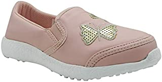 KazarMax Women's Pink PU with Gold Butterfly Formal Slip