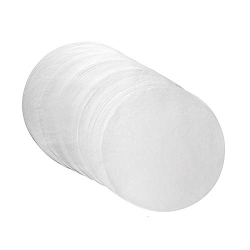 100 hojas de papel de pergamino antiadherentes, perfectas para hornear, freidora de aire, hornear, hornear, galletas, etc. Diámetro: 16 cm (aproximadamente).