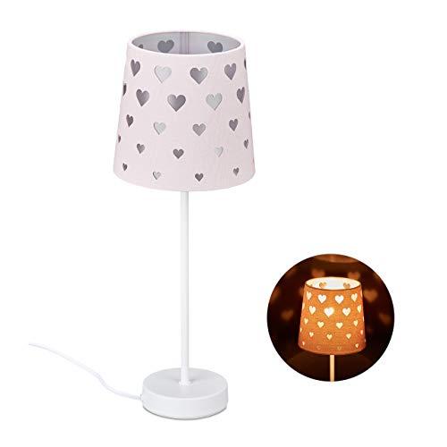 Relaxdays Nachttischlampe Kinder, Herzen, Stoff Lampenschirm, für Baby und Kind, Kinderlampe HxD: 43 x 16 cm, rosa-weiß, 10032277_113