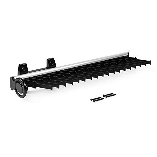 EMUCA - Corbatero Lateral Extraible para Armario, Aluminio y plástico, anodizado Mate y Negro.