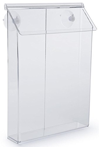 """Literature Holder for Distributing 9""""W x 11""""H Flyers, Window Mount with Suction Cups Included, Lid Snaps Shut, Clear Acrylic"""