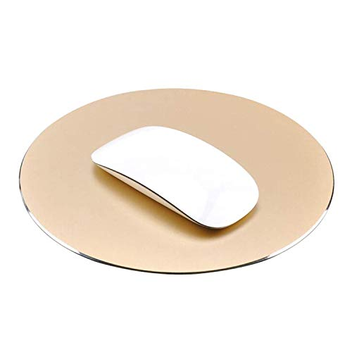 NewBull Anti-Slip Aluminium Alloy Mouse Pad for Fast and Accurate Control Round Gaming Mouse Mat (Gold)