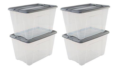 Amazon Basics, Juego de 4 Cajas de Almacenamiento, 60 L, con Cierre a Presión, Apilable, Sala de Estar, Dormitorio, Garaje - New Top Box Ntb-60 - Gris &Transparente