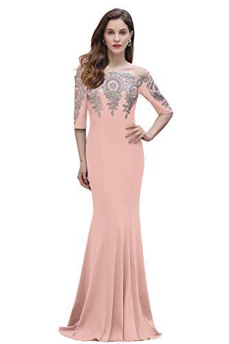 MisShow Women's Gold Lace Applique Prom Maxi Dress Mermaid Wedding Guest Dress Dusty Rose 14