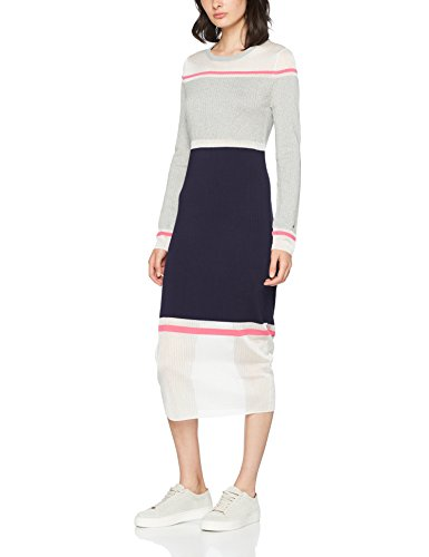 Tommy Hilfiger Damen GELDA Sheer Contrast Dress Kleid, Grau (Light Grey Htr/Peacoat/Magenta 902),...