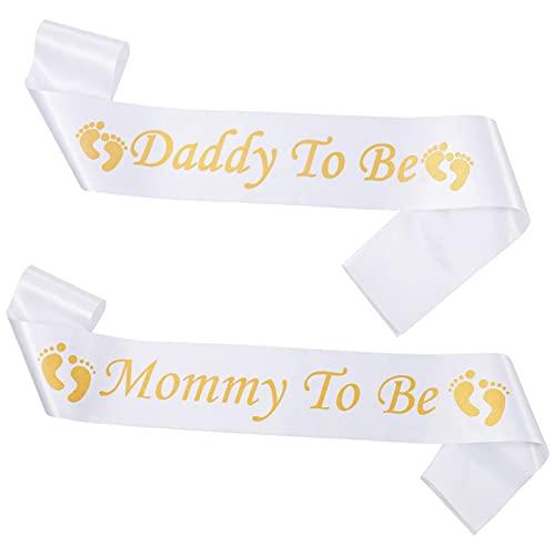 Firtink Schärpe für Baby Shower Mummy to Be Schärpe Daddy to Be Schärpe Babydusche Schärpen Set für Baby Dusche Party Feier, Baby Willkommensparty