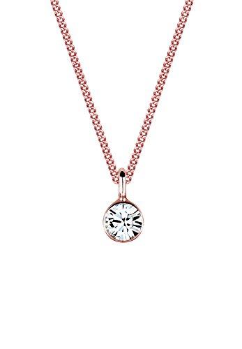 Elli Damen Schmuck Halskette Kette mit Anhänger Klassisch Basic Silber 925 Rosé Vergoldet Swarovski® Kristalle Länge 45 cm