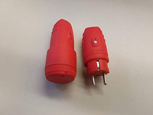 Schuko Gummistecker Stecker und Kupplung Set 230V IP44 in mehrere Farben verfügbar (rot)