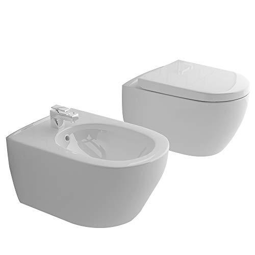 Alpenberger Randlos-Tiefspüler-Hänge-WC&Bidet mit Überlaufschutz&Quick-Release D-Form WC-Sitz mit Absenkautomatik | Komplett-Set | Kein Überspritzen durch innovative Wasserführung | passend zu GEBERIT