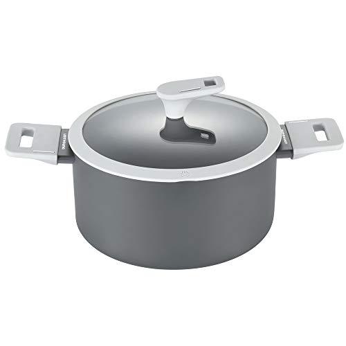 Lonyoung Nonstick Dutch Oven 4 Quarts Aluminum Dutch Oven, Stock Pot/Stockpot with Glass Lid, PFOA & BPA Free, Grey