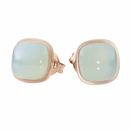 Metal Damen-Pendientes de acero inoxidable, oro rosa - calcedonia turcochipriotas - 411960G0