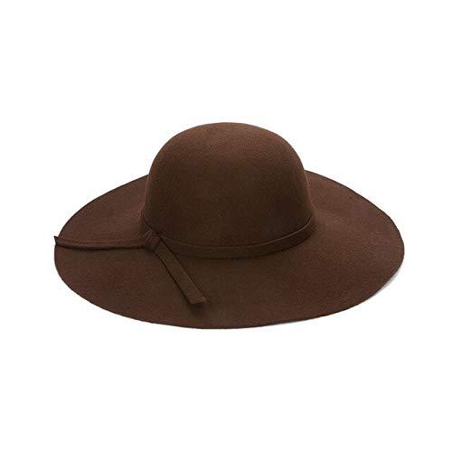 WMA Sombrero de Verano para Mujer,para Mujer,para Playa,para el Sol,Flojo,Ancho,ala Grande,Cloche,bombín,Gorra de Lana,café