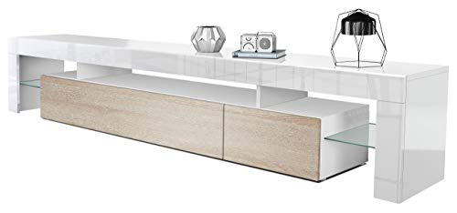 Vladon TV Schrank Lowboard Fernsehschrank Fernsehtisch Wohnzimmer Lima V2 in Weiß/Eiche sägerau