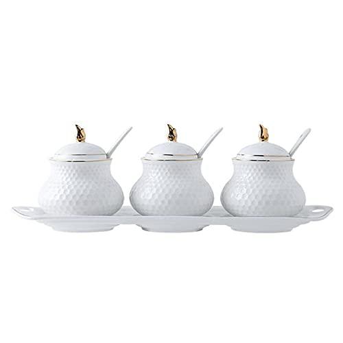 Barattolo per spezie Contenitore in Ceramica Elegante Cucina Bianco Resistente all'umidità per tè medicinali e spezie (Set da Tre Pezzi)