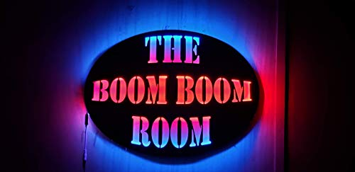 The Boom Boom Room- Wood Led Man cave sign, Handmade 23' X 17', Pick your light color!