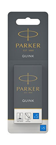 Parker Quink recambios para plumas estilográficas, cartuchos largos de tinta azul lavable, blíster de 5