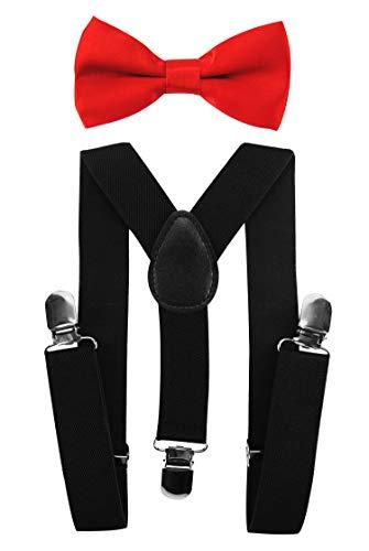 axy Kinder Schwarze Hosenträger-Y Form mit Fliege- 3 Clips EXTRA STARK (Schwarze Hosenträger + Rote Fliege)