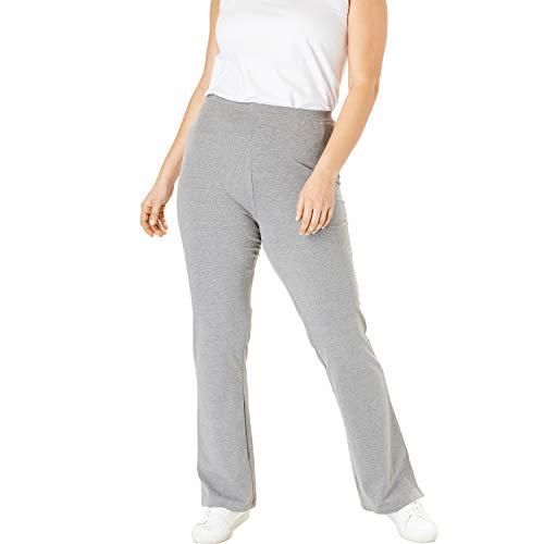 Woman Within Women's Plus Size Tall Stretch Cotton Bootcut Yoga Pant - 2X, Medium Heather Grey