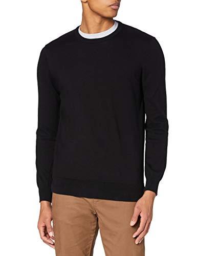 Amazon-Marke: MERAKI Baumwoll-Pullover Herren mit Rundhals, Schwarz (Black), XXL, Label: XXL
