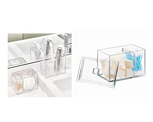 Price comparison product image InterDesign Luci Storage Box with Lid,  Plastic Cotton Pad Holder with Two Compartments,  Clear