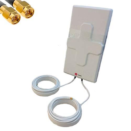 Antenna 4G Wonect 50dBi bianca cavo esterno 5,10 o 15 metri con connettore SMA maschio integrato per migliorare risultati in ricezione segnale 4G per Routers, modems 4G compatibili antenna esterna 5m