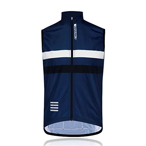 Morethan ウインドブレーカー サイクルベスト 袖なし ノースリーブ 防風 バックポケット付き メンズ WVP-020、ダークブルー、L