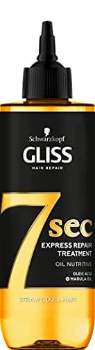 Schwarzkopf Gliss 7 Seconds Express Tratamiento de reparación del cabello, aceite nutritivo, mascarilla instantánea para cabello opaco y seco, 200 ml