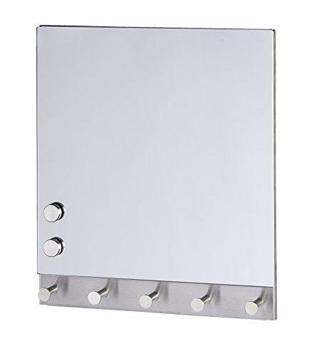 Wenko 50404100 Hakenleiste Mirror - 5 Haken, magnetisch, Gehärtetes Glas, 34 x 30 cm, silber