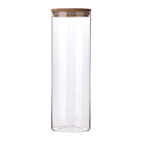 Hemoton Glazen Theebus Voedselopslagpot Met Luchtdichte Deksel Van Acacia Graan Opslagcontainer Voor Thee Koffie Kruiden Snoep 1. 8L