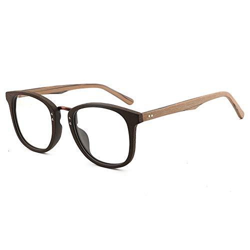 Herren Sonnenbrillen Große Rahmen Holzmaserung Brillengestell Retro Platte Brillengestell Handgefertigte Mode Flache Lichtrahmen LTJHJD (Color : 01braun, Size : Kostenlos)
