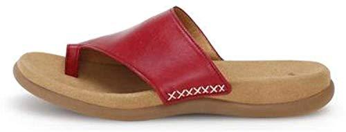 Gabor 43-700 Damen Pantoletten Zehentrenner Leder, Schuhgröße:38 EU, Farbe:Rot