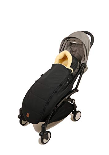 Kaiser 6514325 Premium Lammfell Fußsack für Yoyo, black, schwarz